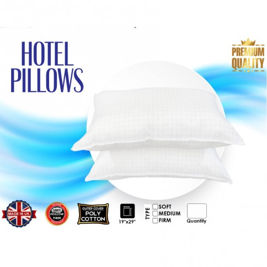 Hotel Check Pillow Firm Polycotton